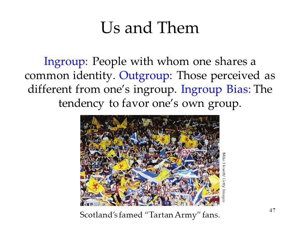 47 Us and Them Ingroup: People with whom one shares a common identity.