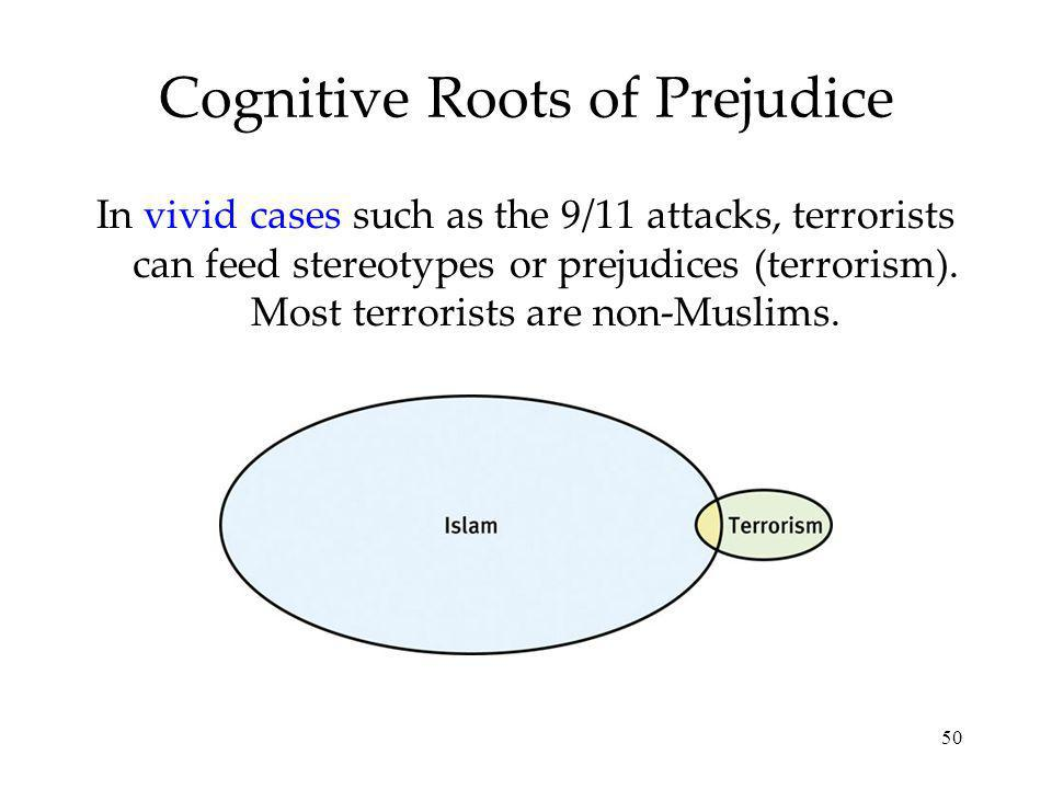 50 Cognitive Roots of Prejudice In vivid cases such as the 9/11 attacks, terrorists can feed stereotypes or prejudices (terrorism).