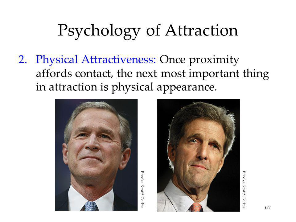 67 Psychology of Attraction 2.Physical Attractiveness: Once proximity affords contact, the next most important thing in attraction is physical appearance.