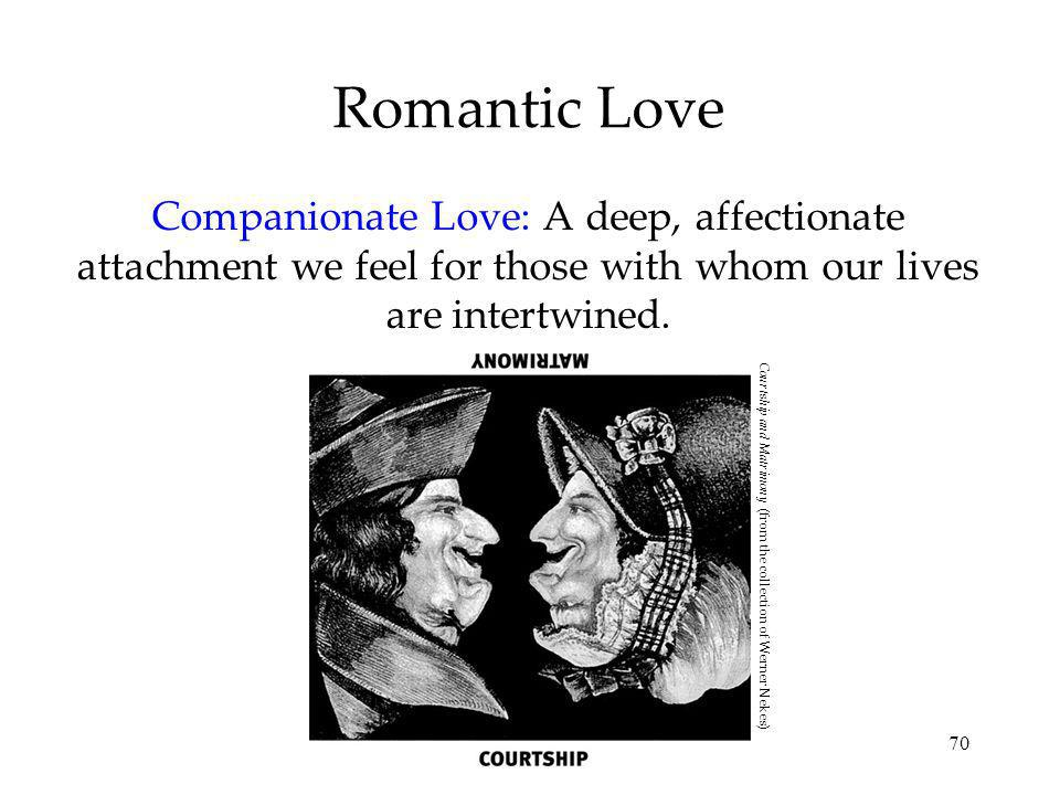 70 Romantic Love Companionate Love: A deep, affectionate attachment we feel for those with whom our lives are intertwined.