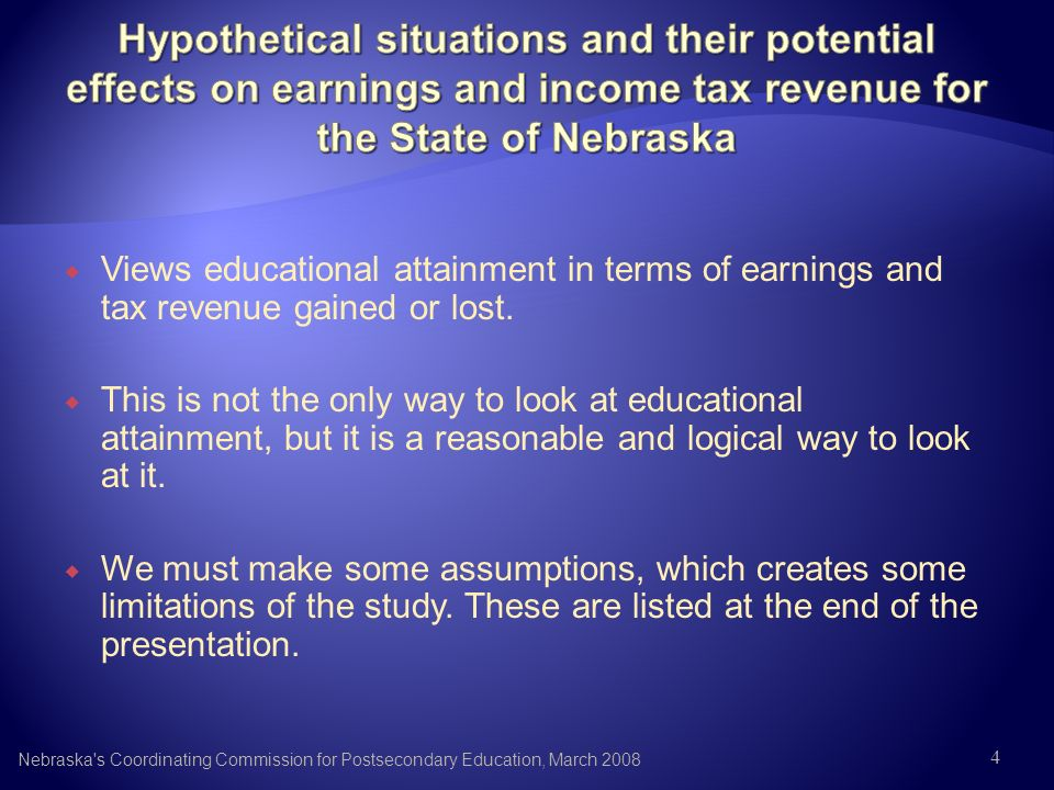 Views educational attainment in terms of earnings and tax revenue gained or lost. This is not the only way to look at educational attainment, but it i
