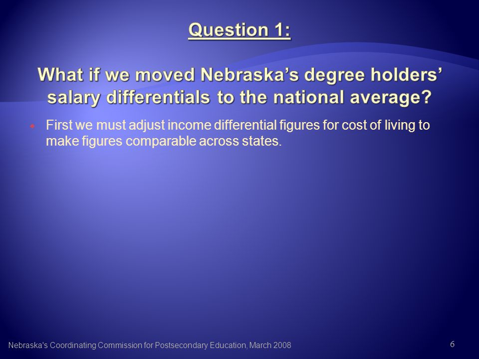 First we must adjust income differential figures for cost of living to make figures comparable across states. Nebraska's Coordinating Commission for P