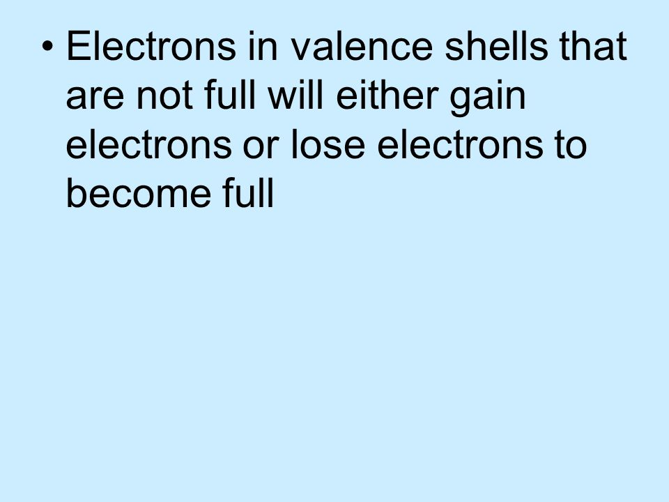 Valence electrons – electrons in the outermost energy level of an atom. The valence shell can have 1 to 8 electrons in it depending on its place on th