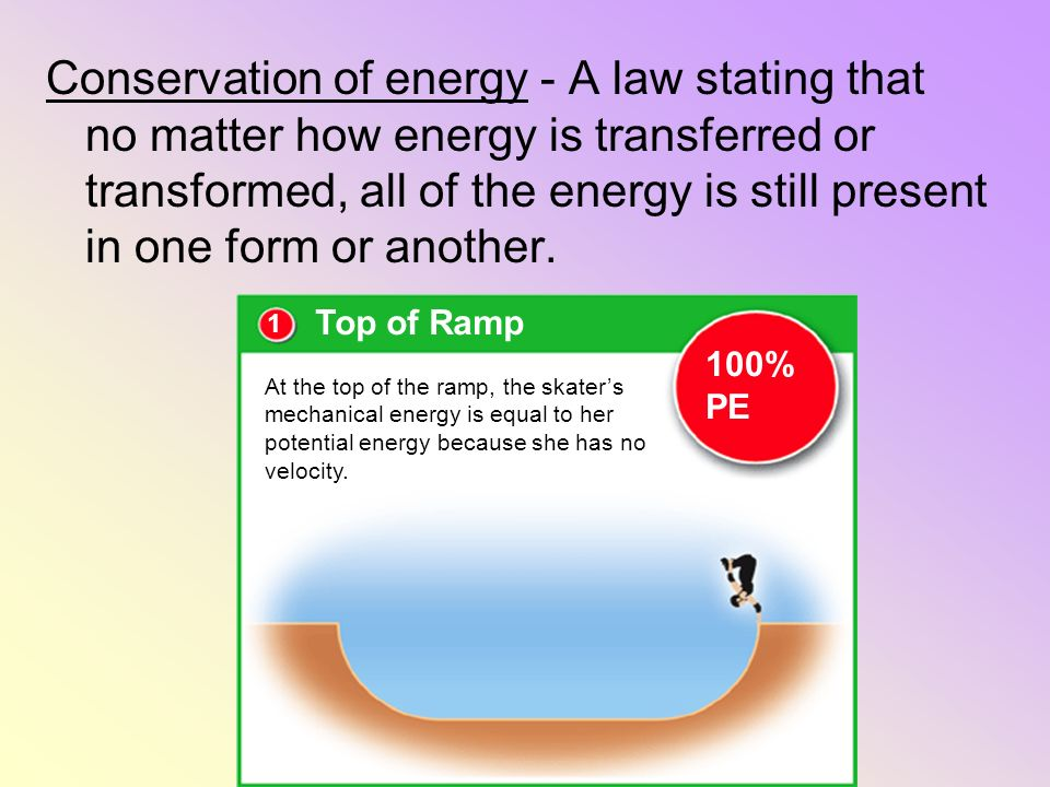 Conservation of energy - A law stating that no matter how energy is transferred or transformed, all of the energy is still present in one form or anot
