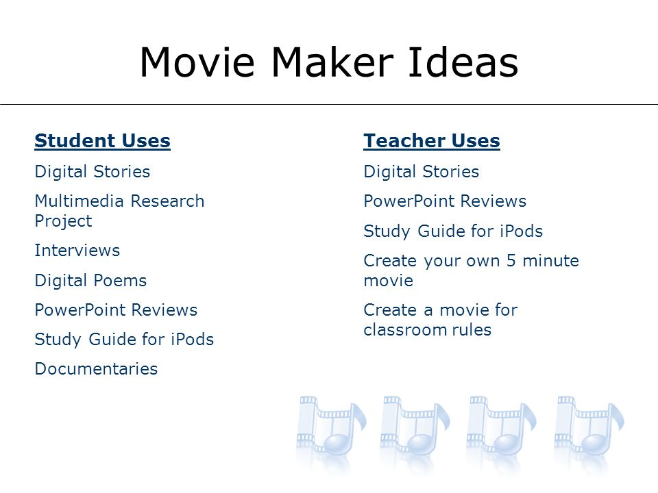 Movie Maker Ideas Student Uses Digital Stories Multimedia Research Project Interviews Digital Poems PowerPoint Reviews Study Guide for iPods Documentaries Teacher Uses Digital Stories PowerPoint Reviews Study Guide for iPods Create your own 5 minute movie Create a movie for classroom rules