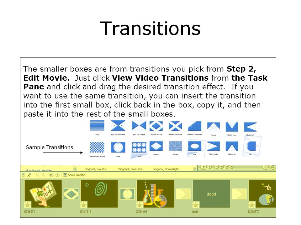 Transitions The smaller boxes are from transitions you pick from Step 2, Edit Movie.