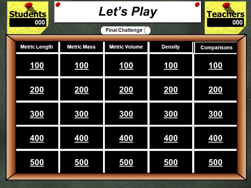 StudentsTeachers Game Board Metric Length Metric Mass Metric Volume Density Comparisons 100 200 300 400 500 Lets Play Final Challenge