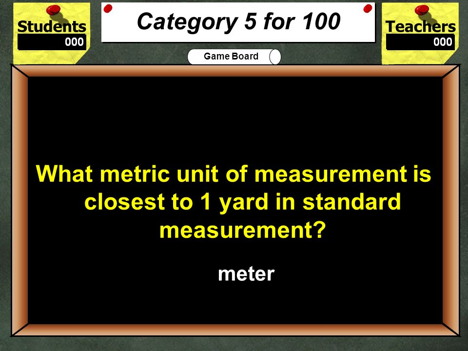 StudentsTeachers Game Board 500 List the following materials in order from least to greatest densities: Gold, silver, water, air and aluminum Category