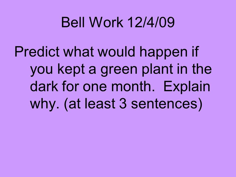 Bell Work 12/4/09 Predict what would happen if you kept a green plant in the dark for one month. Explain why. (at least 3 sentences)