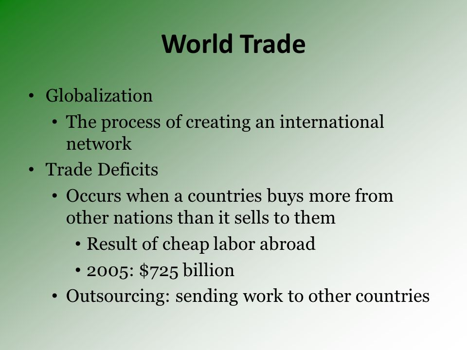 World Trade Globalization The process of creating an international network Trade Deficits Occurs when a countries buys more from other nations than it sells to them Result of cheap labor abroad 2005: $725 billion Outsourcing: sending work to other countries