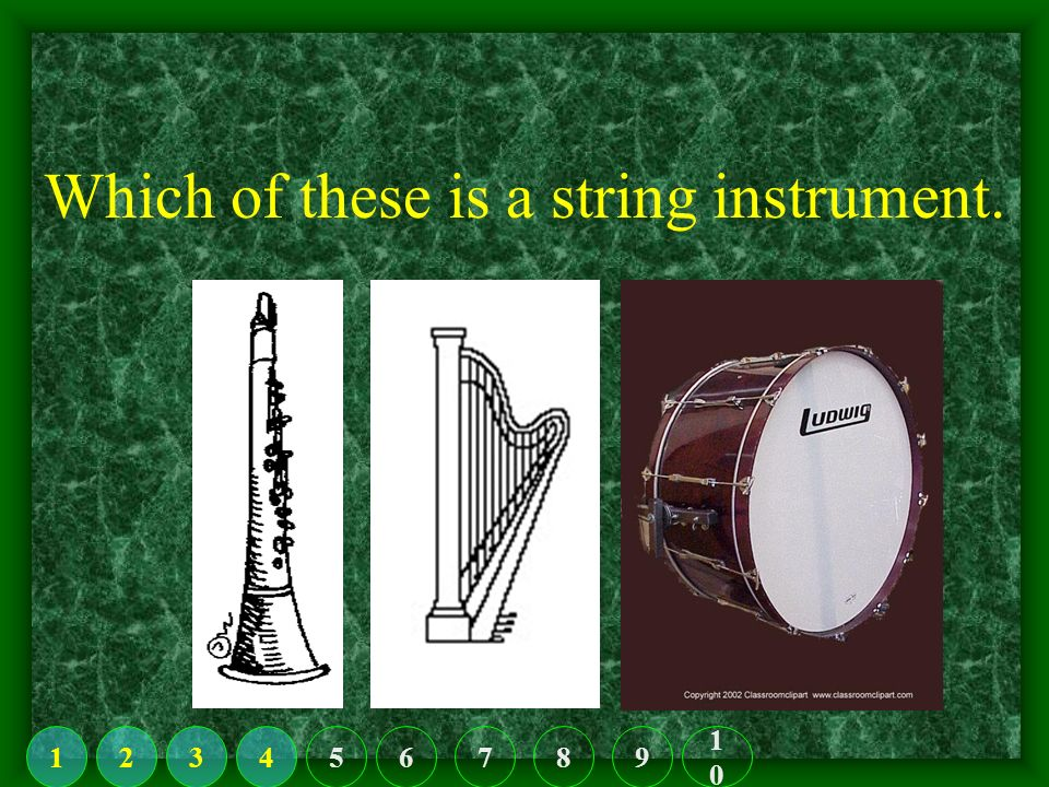 Find the drum set. 123456789 1010