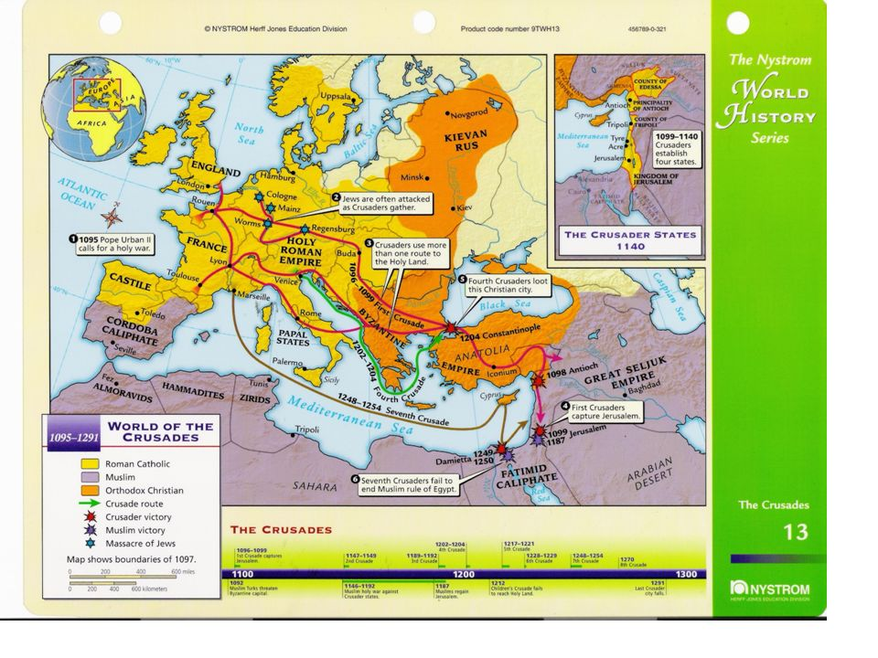 Crusades (Holy Wars) 1 st Crusade (1096-1099) –Christians battled Muslims for control of lands in Middle East –only crusade close to achieving goal long, bloody campaign –Christian knights captured Jerusalem in 1099 then massacred Muslims & Jews