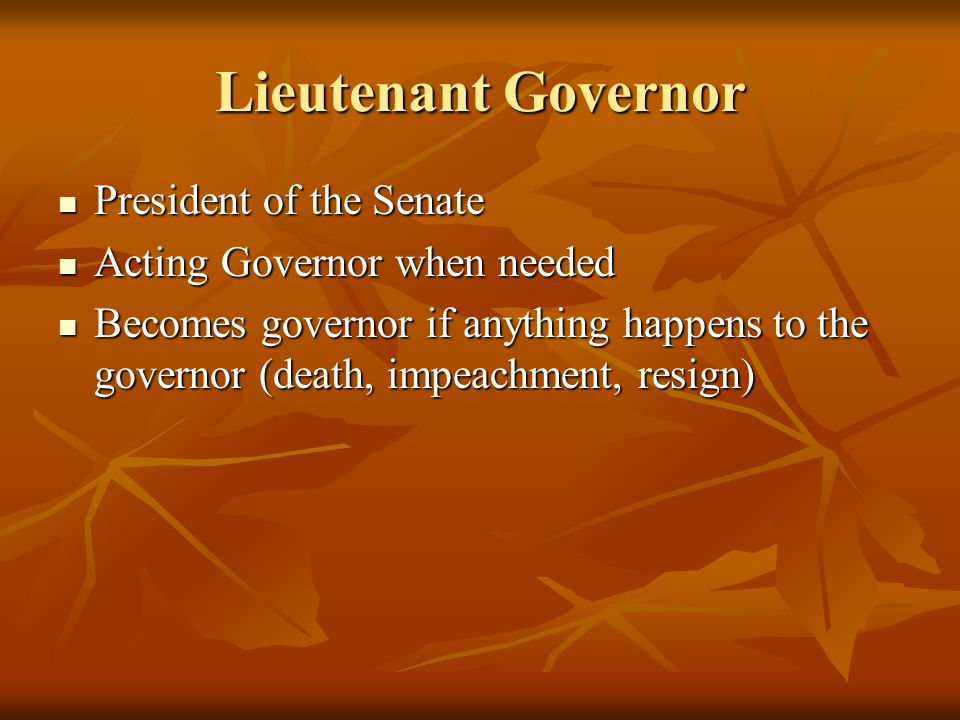 Lieutenant Governor President of the Senate President of the Senate Acting Governor when needed Acting Governor when needed Becomes governor if anything happens to the governor (death, impeachment, resign) Becomes governor if anything happens to the governor (death, impeachment, resign)