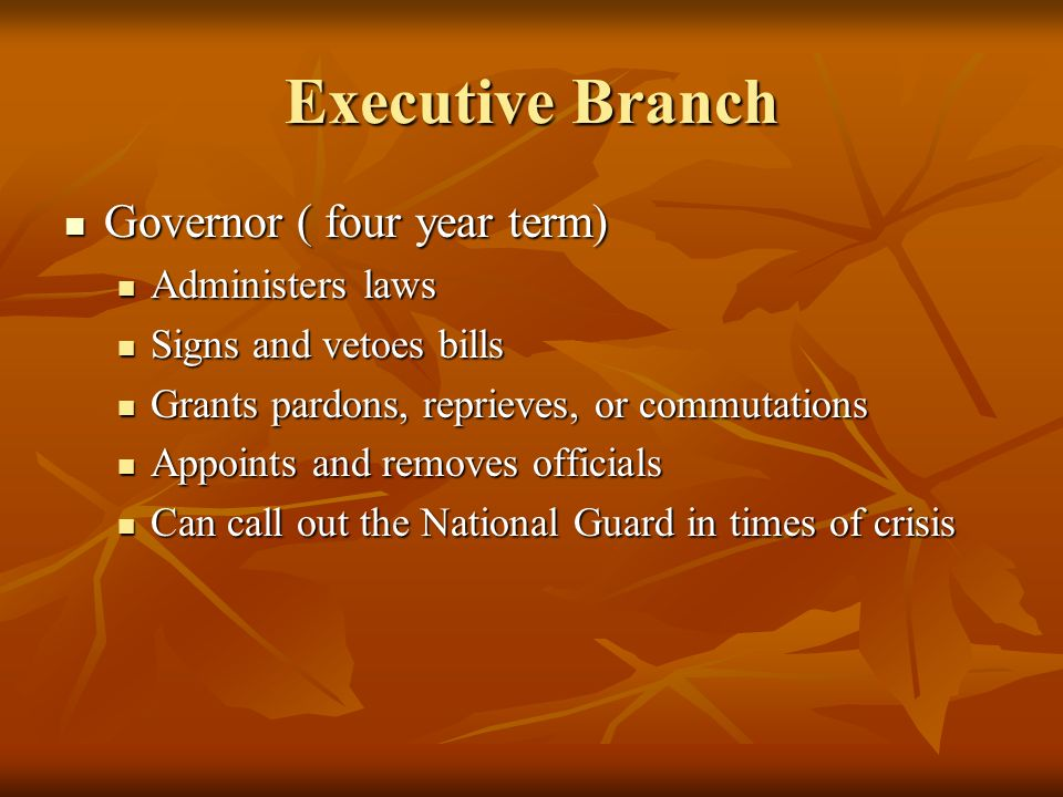 Executive Branch Governor ( four year term) Governor ( four year term) Administers laws Administers laws Signs and vetoes bills Signs and vetoes bills