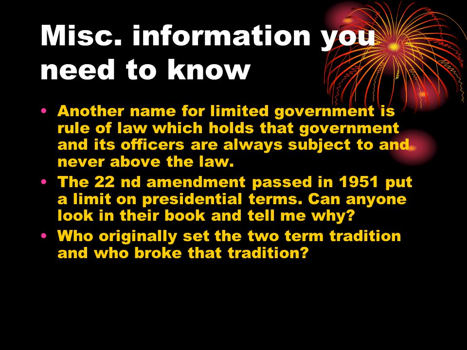 Definitions to Remember Federalism- division of power among a central government and several regional governments Unconstitutional- to declare null, illegal or void– a government action found to violate some provision in the Constitution Judicial review- power of courts to determine whether or not government is in accordance with what the Constitution provides Constitutionalism- government must be conducted according to Constitutional principles