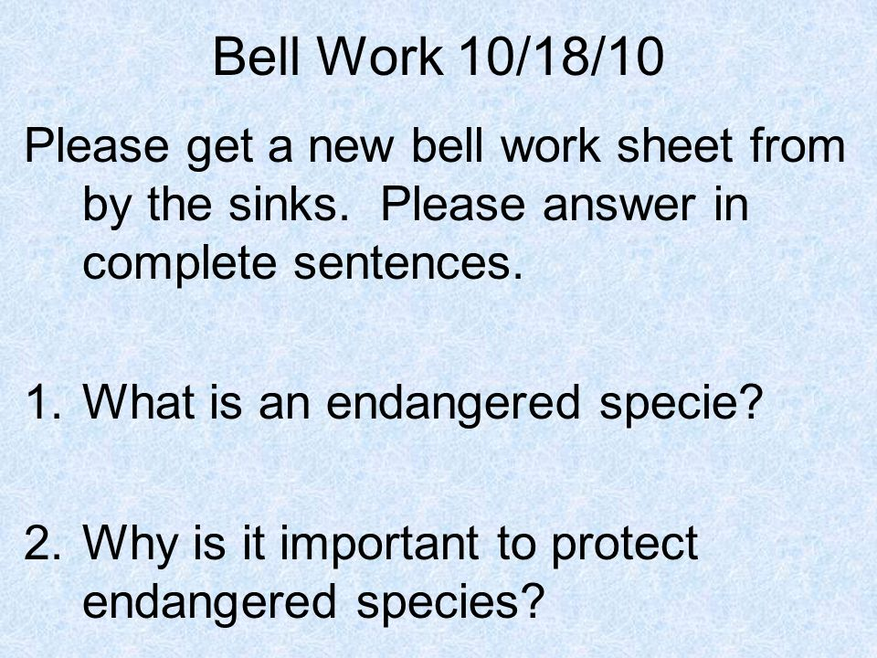 Bell Work 10/18/10 Please get a new bell work sheet from by the sinks. Please answer in complete sentences. 1.What is an endangered specie? 2.Why is i