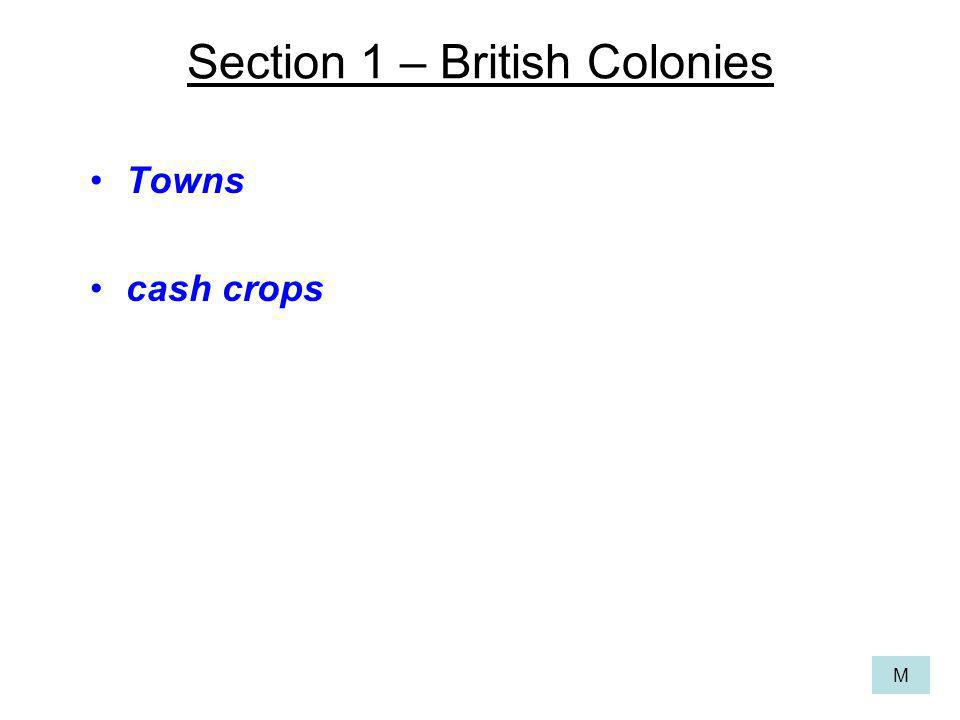 Section 1 – British Colonies Towns cash crops M