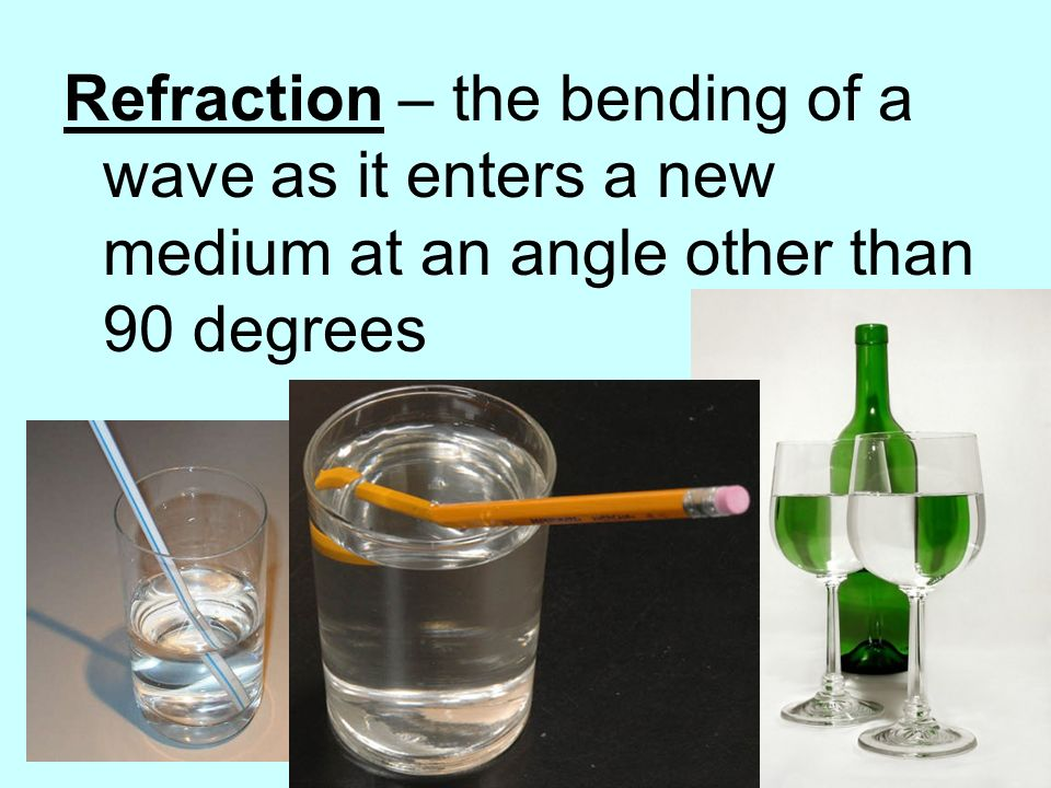 Refraction – the bending of a wave as it enters a new medium at an angle other than 90 degrees