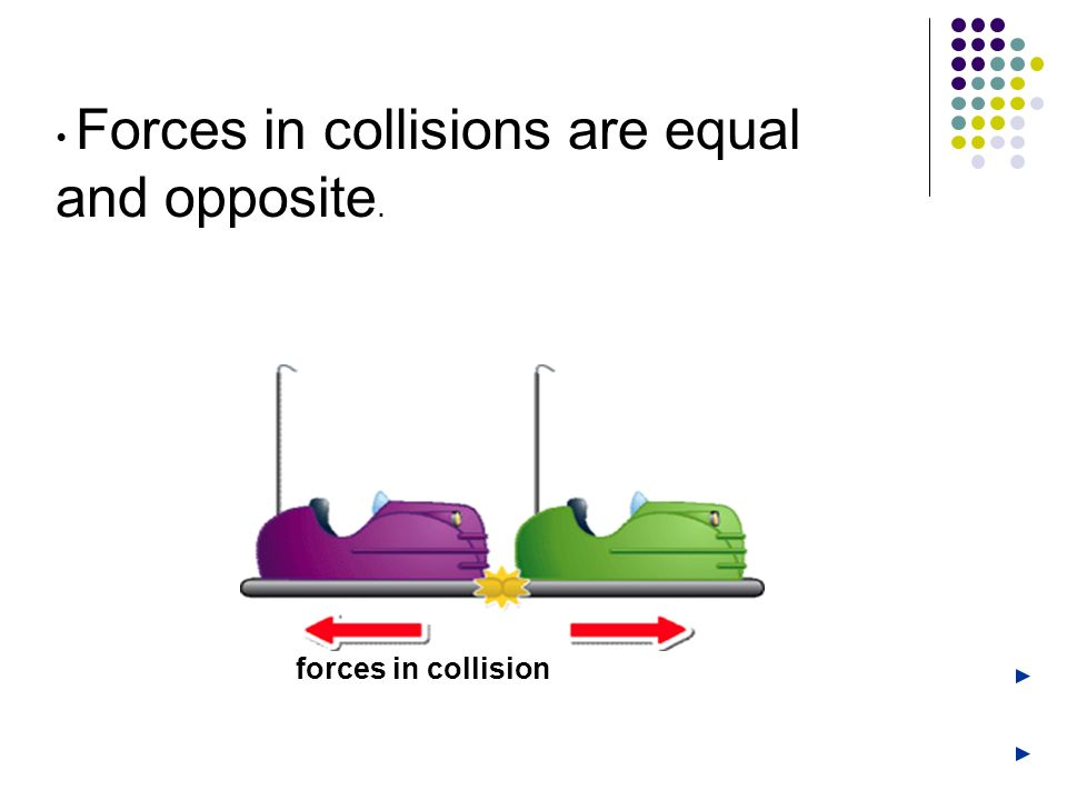 Forces in collisions are equal and opposite. forces in collision