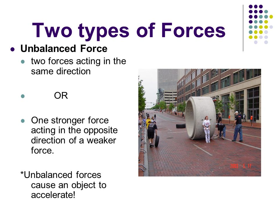 Two types of Forces Unbalanced Force two forces acting in the same direction OR One stronger force acting in the opposite direction of a weaker force.