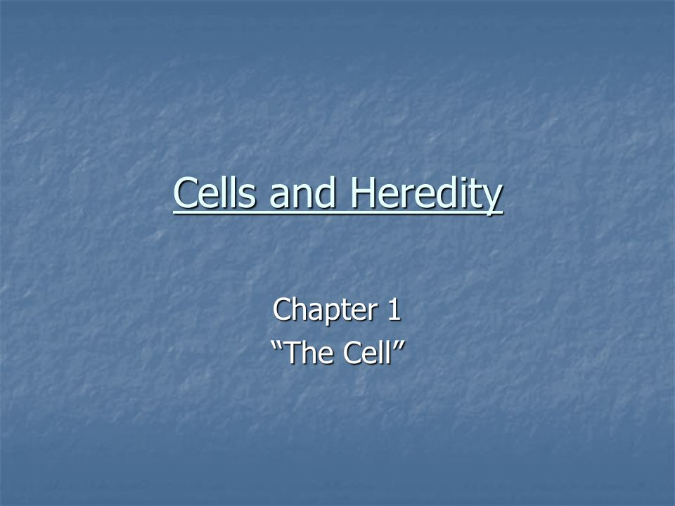 Cells and Heredity Chapter 1 The Cell