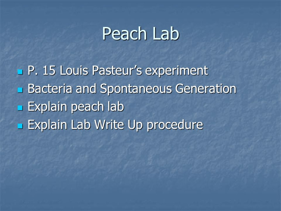 Peach Lab P. 15 Louis Pasteurs experiment P. 15 Louis Pasteurs experiment Bacteria and Spontaneous Generation Bacteria and Spontaneous Generation Expl