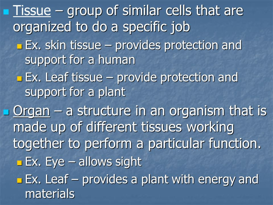 – group of similar cells that are organized to do a specific job Tissue – group of similar cells that are organized to do a specific job Ex. skin tiss