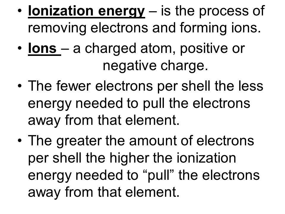 Ionic bonding – bonding that involves a transfer of electrons. Elements tend to want a full outer shell, thus giving up electrons to other elements or