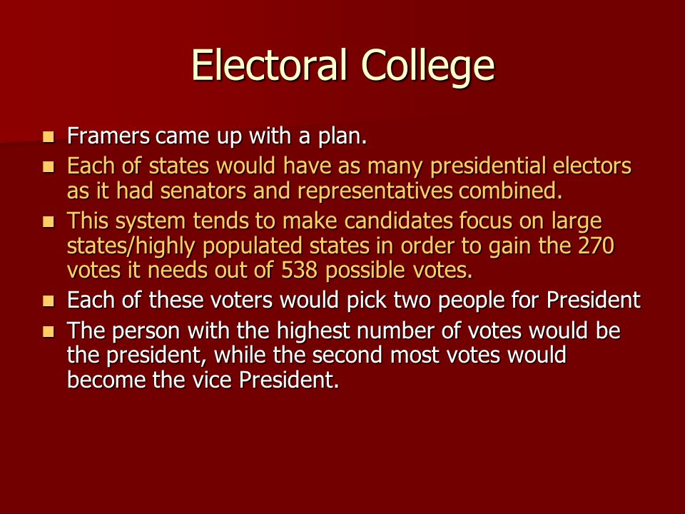 Electoral College Framers came up with a plan. Framers came up with a plan. Each of states would have as many presidential electors as it had senators