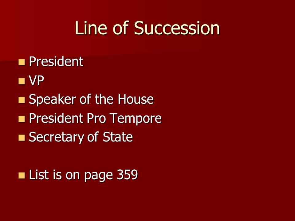 Line of Succession President President VP VP Speaker of the House Speaker of the House President Pro Tempore President Pro Tempore Secretary of State
