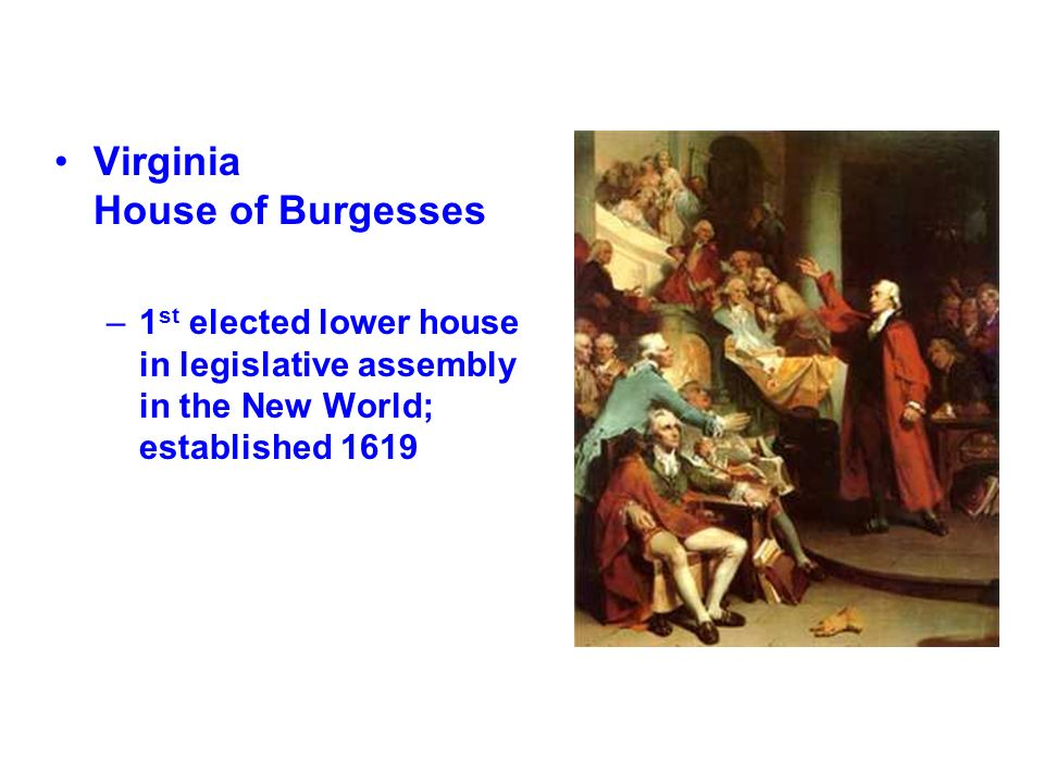 Virginia House of Burgesses –1 st elected lower house in legislative assembly in the New World; established 1619