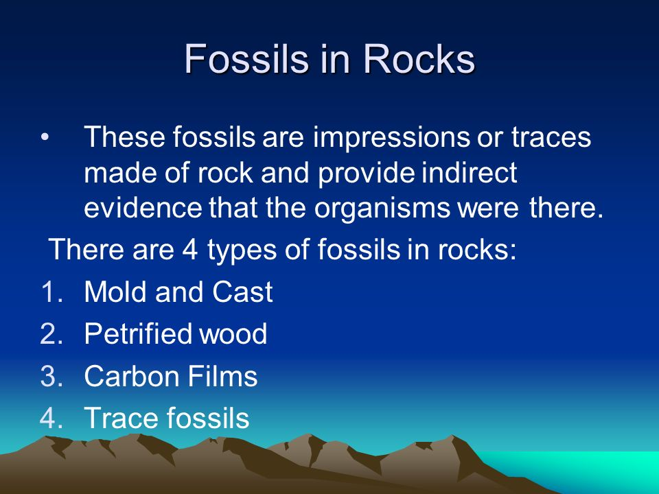 Fossils in Rocks These fossils are impressions or traces made of rock and provide indirect evidence that the organisms were there. There are 4 types o