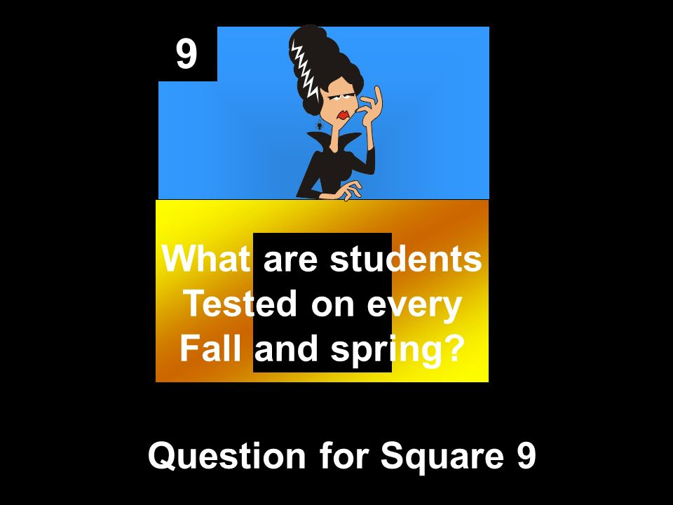 9 Question for Square 9 What are students Tested on every Fall and spring