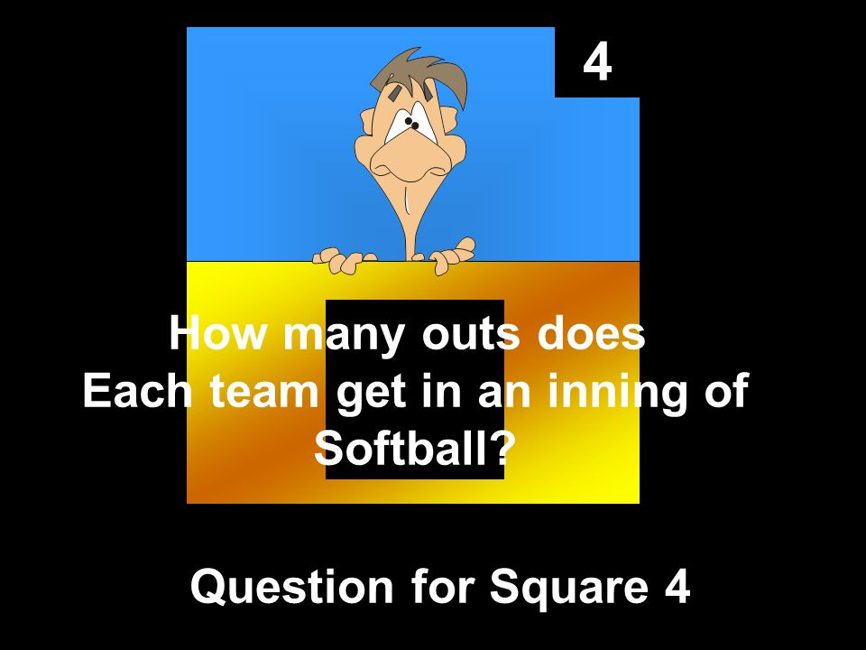 4 Question for Square 4 How many outs does Each team get in an inning of Softball?