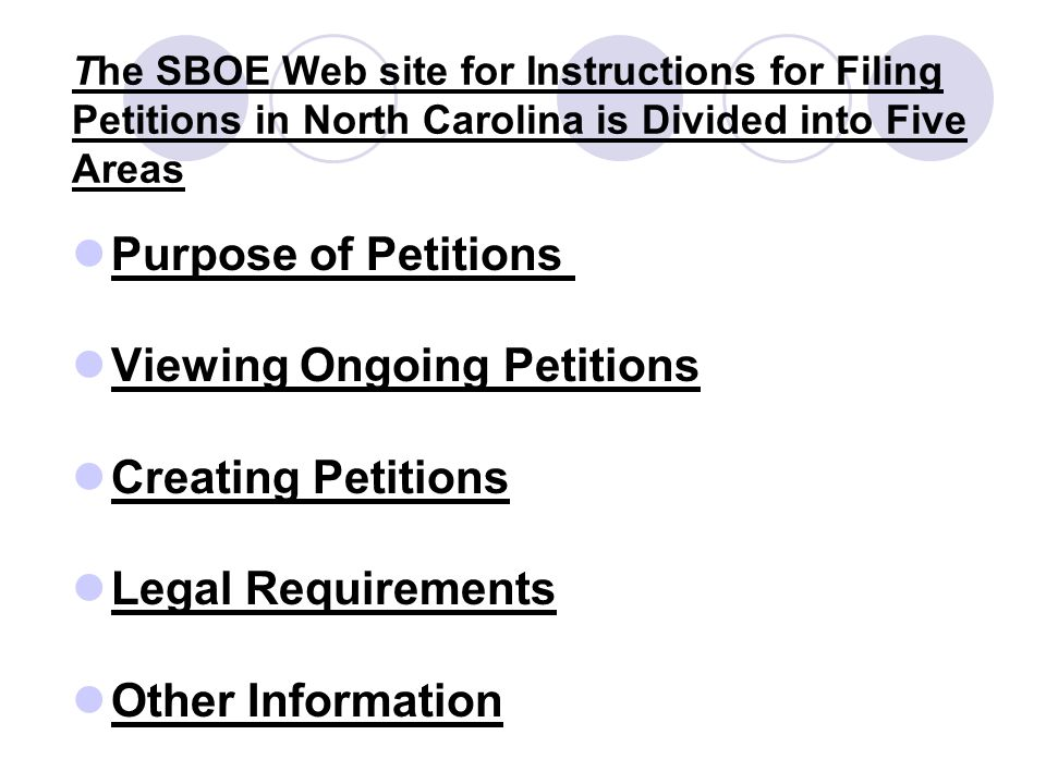 The SBOE Web site for Instructions for Filing Petitions in North Carolina is Divided into Five Areas Purpose of Petitions Viewing Ongoing Petitions Creating Petitions Legal Requirements Other Information