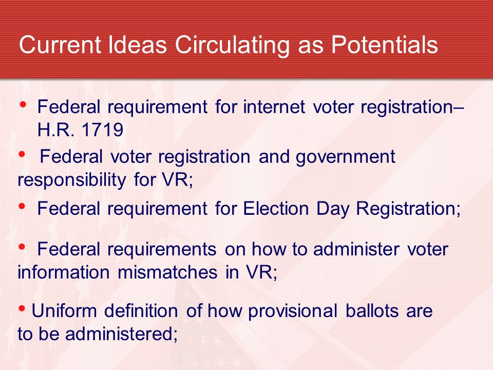 Current Ideas Circulating as Potentials Federal requirement for internet voter registration– H.R.