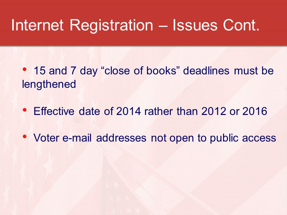 Internet Registration – Issues Cont.
