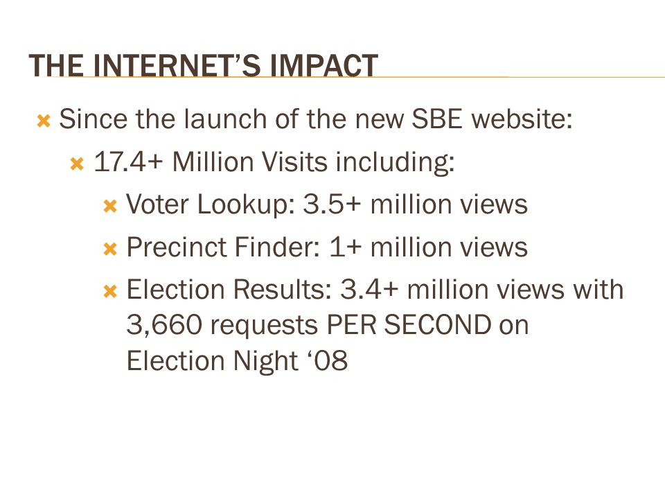 THE INTERNETS IMPACT Since the launch of the new SBE website: 17.4+ Million Visits including: Voter Lookup: 3.5+ million views Precinct Finder: 1+ million views Election Results: 3.4+ million views with 3,660 requests PER SECOND on Election Night 08
