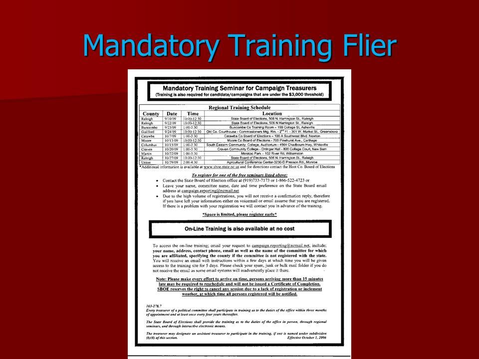 Mandatory Training Flier