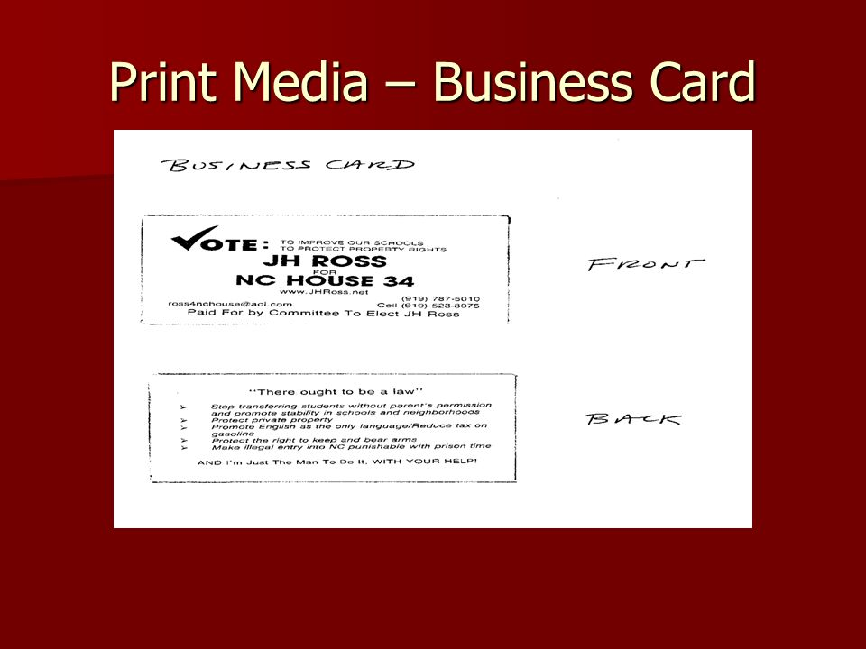 Print Media – Business Card