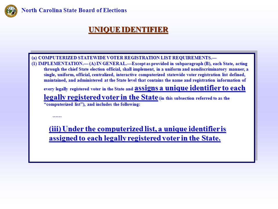 North Carolina State Board of Elections (a) COMPUTERIZED STATEWIDE VOTER REGISTRATION LIST REQUIREMENTS.