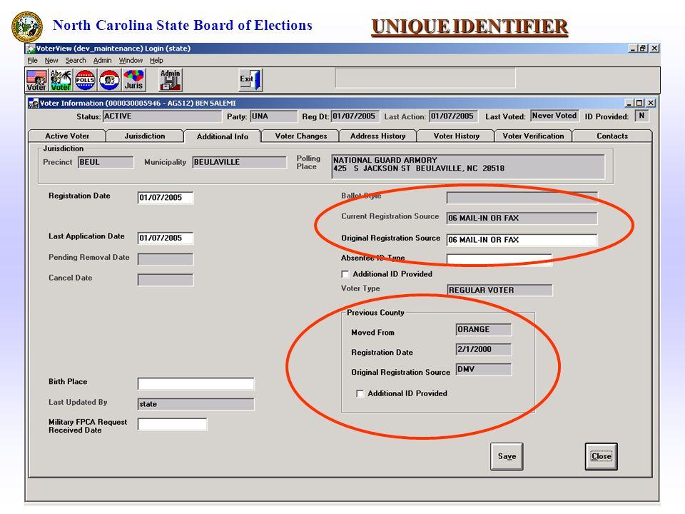UNIQUE IDENTIFIER North Carolina State Board of Elections