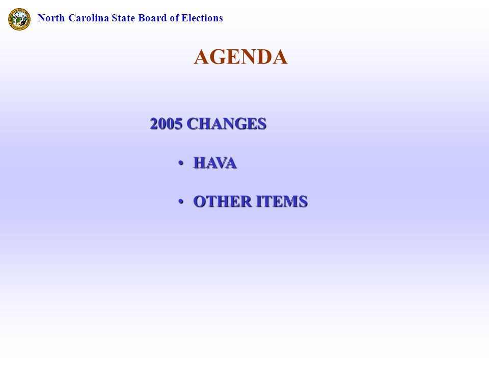 AGENDA North Carolina State Board of Elections 2005 CHANGES HAVAHAVA OTHER ITEMSOTHER ITEMS