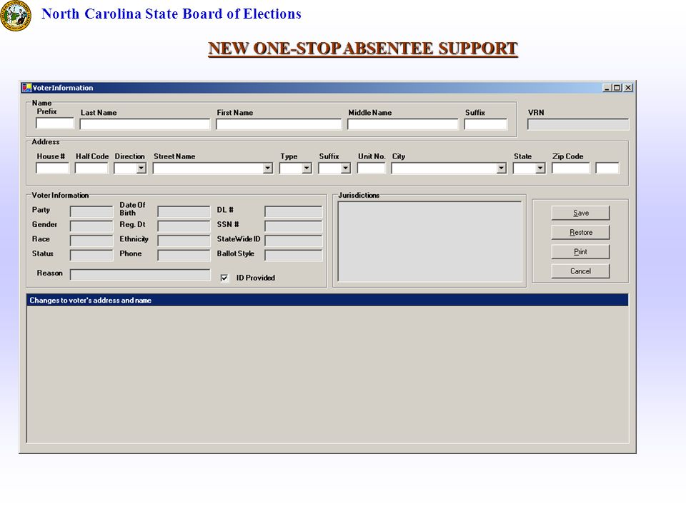 NEW ONE-STOP ABSENTEE SUPPORT North Carolina State Board of Elections