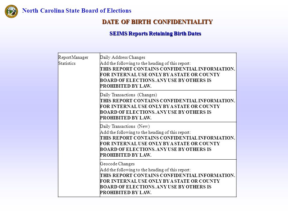 North Carolina State Board of Elections DATE OF BIRTH CONFIDENTIALITY ReportManager Statistics Daily Address Changes Add the following to the heading of this report: THIS REPORT CONTAINS CONFIDENTIAL INFORMATION.