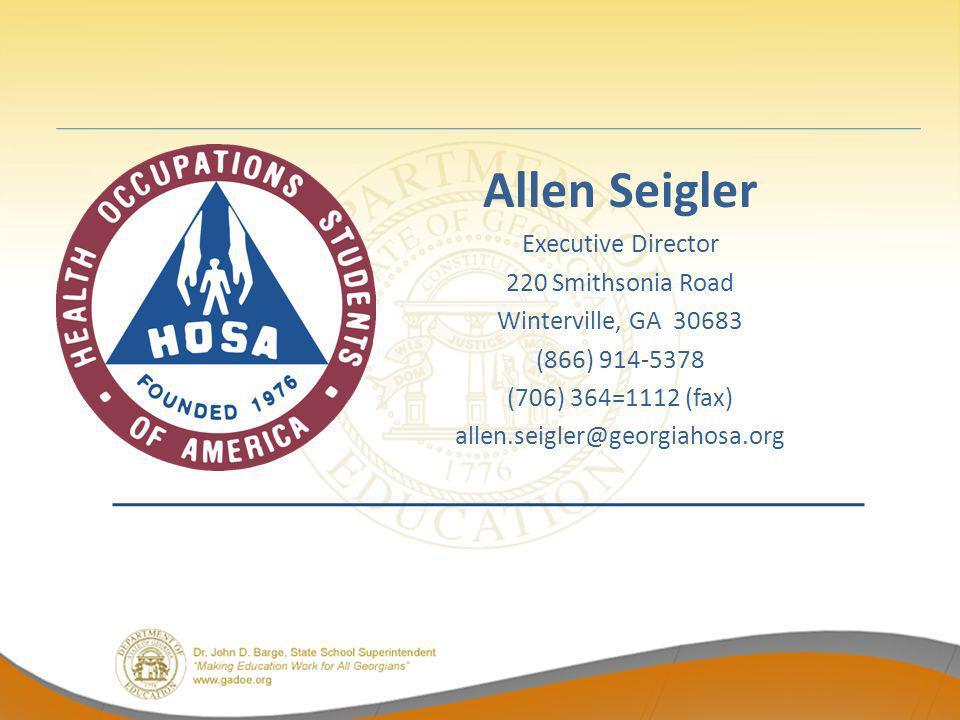 Allen Seigler Executive Director 220 Smithsonia Road Winterville, GA 30683 (866) 914-5378 (706) 364=1112 (fax) allen.seigler@georgiahosa.org