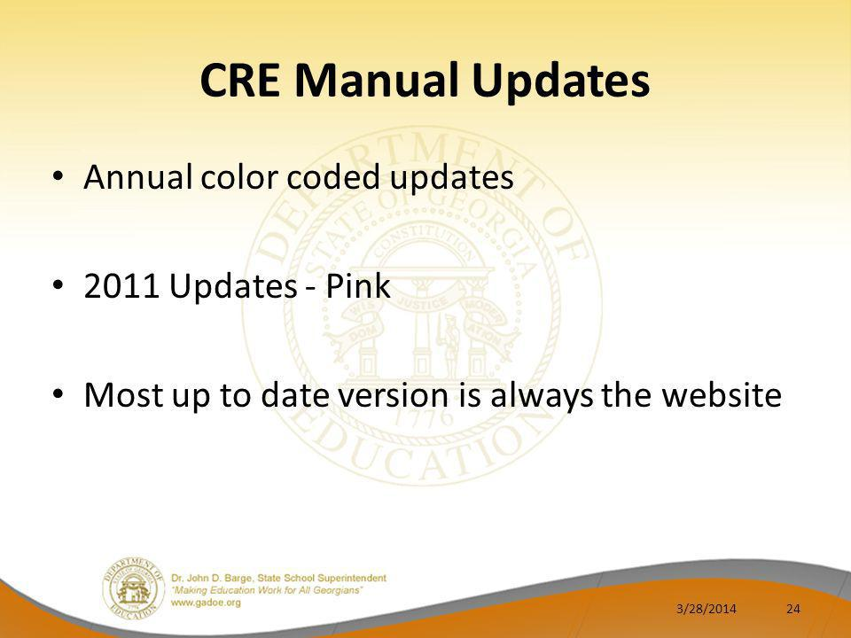 CRE Manual Updates Annual color coded updates 2011 Updates - Pink Most up to date version is always the website 3/28/201424