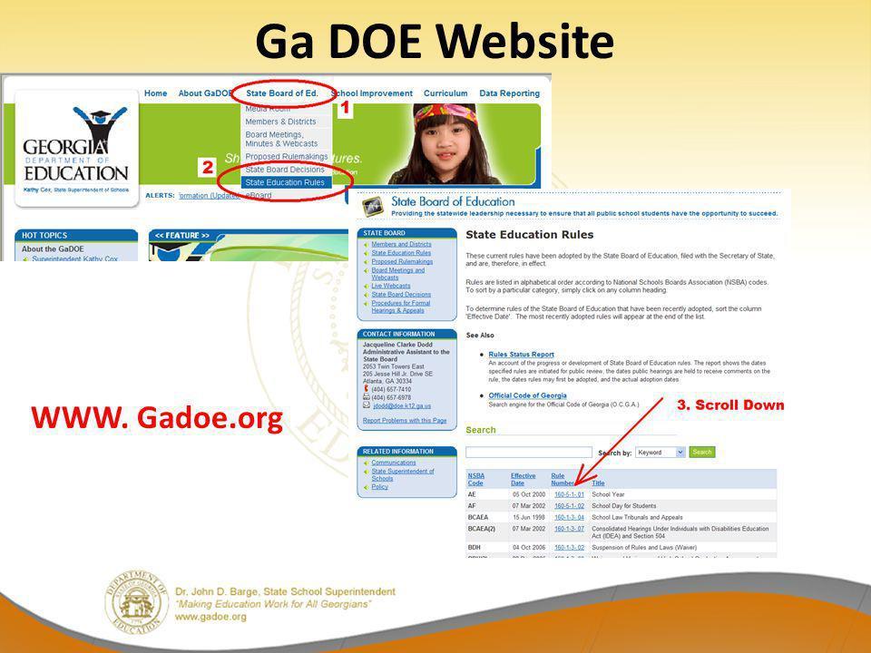 Ga DOE Website WWW. Gadoe.org