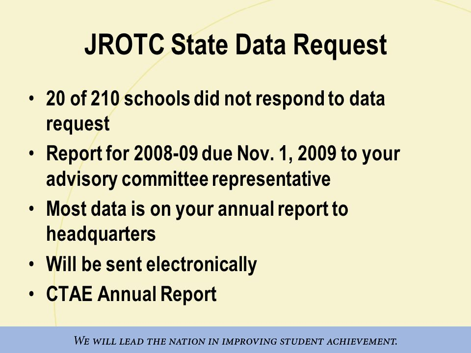 JROTC State Data Request 20 of 210 schools did not respond to data request Report for 2008-09 due Nov. 1, 2009 to your advisory committee representati