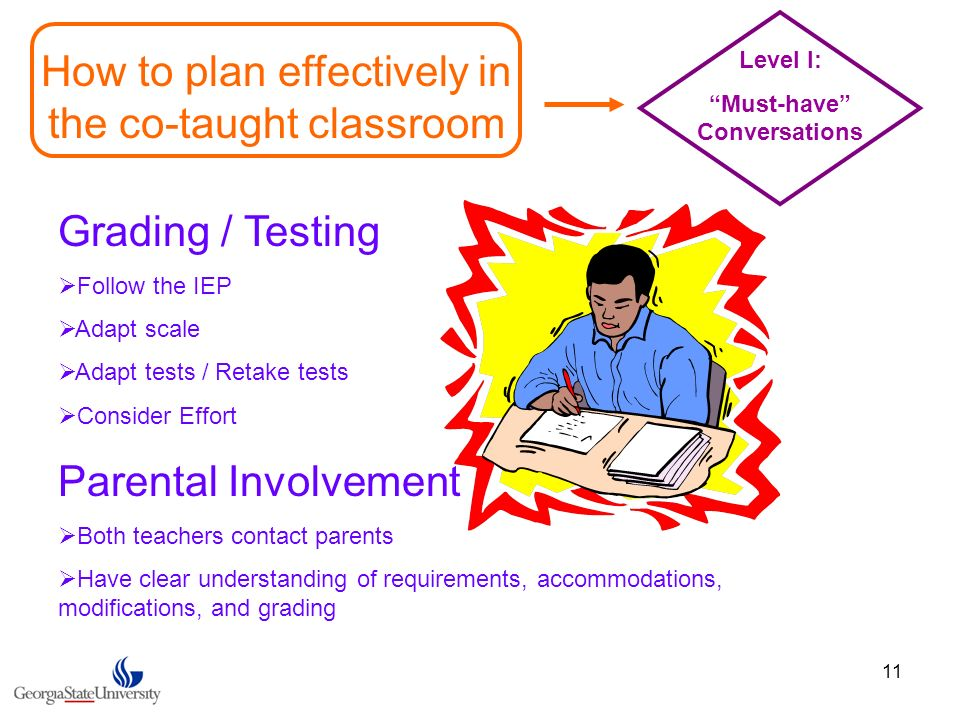 11 How to plan effectively in the co-taught classroom Level I: Must-have Conversations Grading / Testing Follow the IEP Adapt scale Adapt tests / Reta